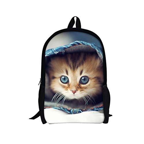 Unique Backpacks Cute Cat for Girls School Bookbags Lightweight Kid Gif