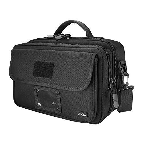 ProCase Taktisch Waffentasche,Deluxe Padded Pistolen Tasche Schießstand-Reisetasche für Pistolen, Munition, Magazine, Brillen, Ohrenschützer und anderes Schießzubehör -Schwarz