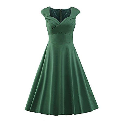 LUOUSE Damen Audrey Hepburn 50s Retro Vintage Bubble Skirt Rockabilly Swing Evening Kleider,Green,XL