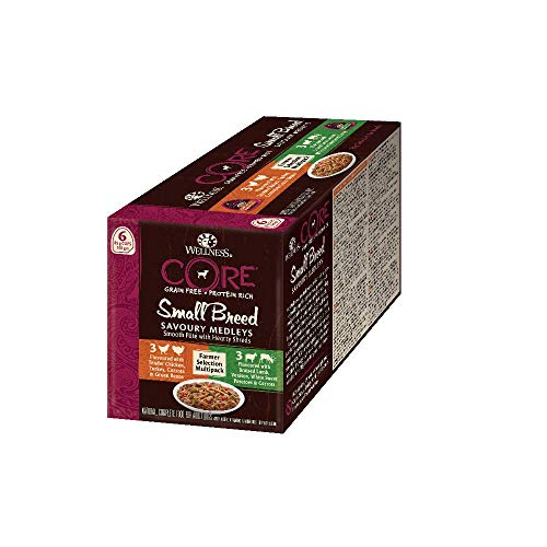 Wellness CORE Small Breed Savoury Medleys, Hundefutter nass für kleine Hunde, getreidefrei, mit hohem Fleischanteil, Farmer Selection Mix, 6 x 85 g