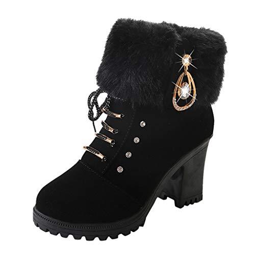 Cotonie Women Ankle Boots Fashion Rhinestone Chelsea Booties Anti Slip Warm Short Booties 65-7 Black