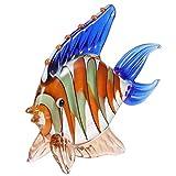 VICASKY Estatuilla de Vidrio Peces Artificiales Tropicales Figuras Miniatura Mar Animal Tanque Acuario Costero Náutico Mesa Decoraciones