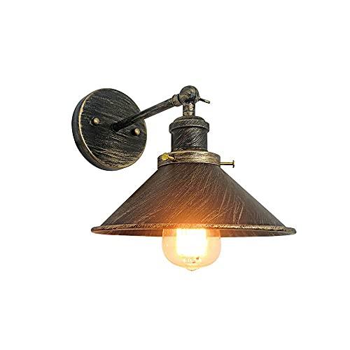 LBMTFFFFFF Lámpara de Pared Soporte de Luz Lámpara de Pared Retro Moderna Lámpara de Pared Bronce Bronce Hierro Pantalla de Arte el Portalámparas Se Puede Girar Iluminación de Pared sin Bombilla Lámp