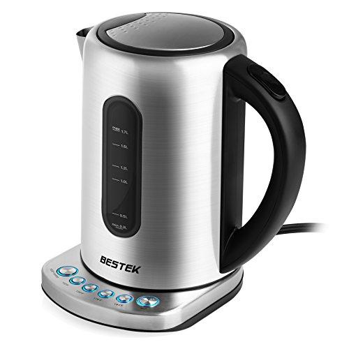 BESTEK Thermoskanne 1,5 Liter Isolierkanne Edelstahl, Auslaufsichere Isolierflasche Kaffeekanne, Quick Tip Verschluss, Soft Grip