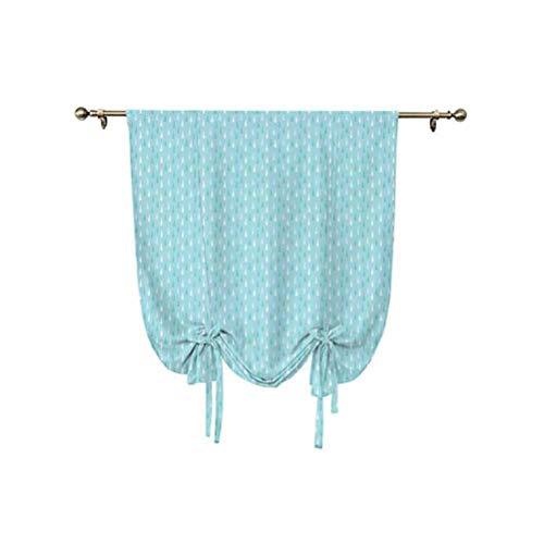 Farmhouse Decor - Parasol para ventana de baño, diseño simplista de otoño y ducha, con forma de gotas de lluvia pesadas, ajustable, 76 x 108 cm, para ventana de baño, color azul y blanco