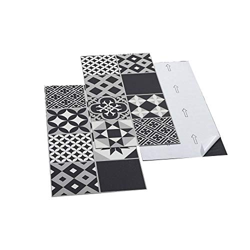 ARTENS - PVC Bodenbelag - Selbstklebende Fliesen - Zementfliesen Muster - Schwarz/Weiß - 2.23m² / 12 Fliesen