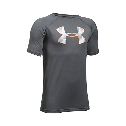 Under Armour Boys' Tech Big Logo T-Shirt, Graphite /Overcast Gray, Youth X-Large