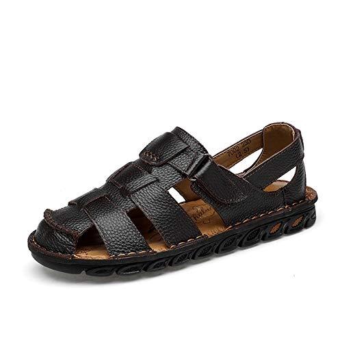RZL Casual Sandalen, Herrenmode Casual Sandalen, Anti-Kollision Toe Convenien Haken & Loop Strap Outdoor Freizeit Wasser Schuhe (Color : Dunkelbraun, Größe : 38 EU)