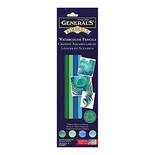 General Pencil, Kimberly Watercolor Pencil Set, 4 Vibrant Blue & Green Colors (770BPK)