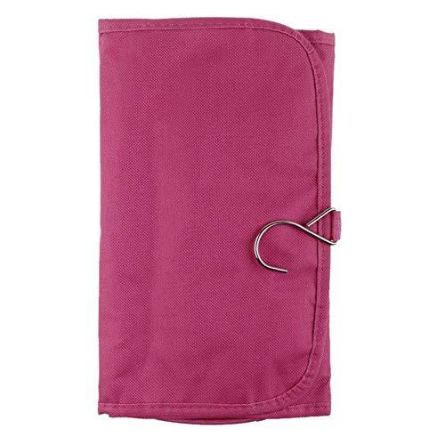 IONE Multifonctionnel Portable Mode Et Pratique Dames Voyage Lavage Cosmétique Boîte De Rangement Sac Pliant Sac, Rose Rouge
