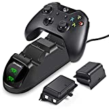 ECHTPower Chargeur Xbox One avec 2 X 1200mah Batteries, Chargeur Manette Xbox One, Dual Station de Charge Sans Fil pour Xbox One Contrôleur / Xbox One X / Xbox One S (Vert&Rouge LED)