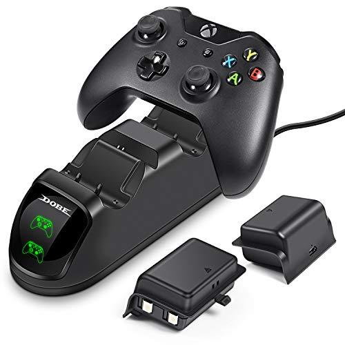 Preisvergleich Produktbild ECHTPower Xbox One Controller ladestation,  2 x 1200mAh Xbox One Controller Akku,  Dual Schnellladegerät mit LED-Anzeige für Xbox One / Xbox One S / Xbox One X Wireless Controller Gamepad