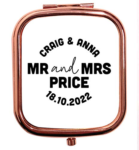 Flox Creative Miroir carré carré carré avec date et nom de mariage