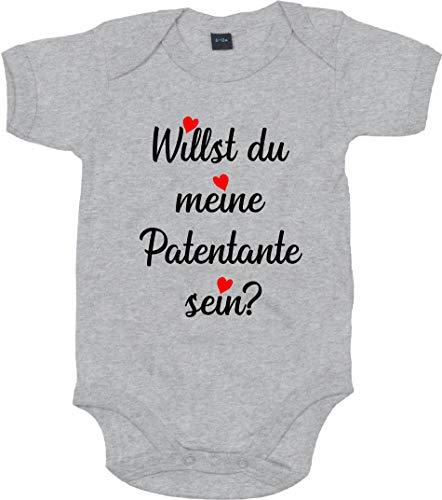 Kleckerliese Body per neonato con scritta 'Willst du my Patentante Sein?' Melange grigio melange 0-3 Mesi