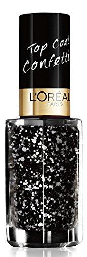 L'Oréal Paris Color Riche Le Vernis Top Coat Confettis Glitzer Nagellack / Glänzender Überlack mit Schimmereffekt in Schwarzweiß / 96 Confettis / 1 x 5ml