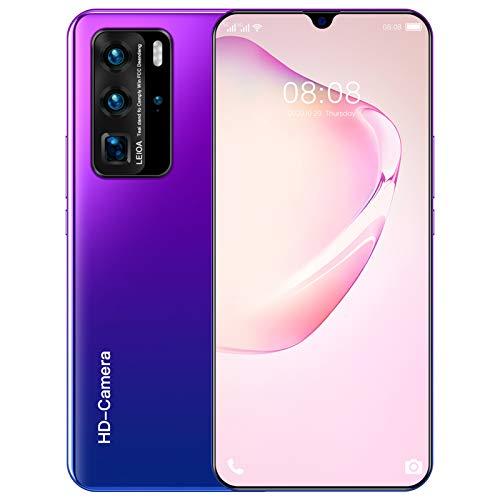 Telefonos Moviles Baratos 5G, P60 Pro Smartphone Libre Dual SIM Gratis, 12 GB + 512 GB, Cámaras Triples, Batería Grande De 5000 Mah, Huella Dactilar, Face ID,Púrpura