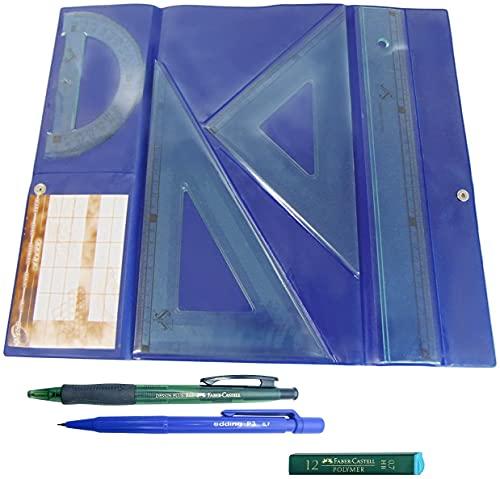Serivan Pack Lote Estuche tecnic Juego Compuesto por Regla 30 cm, escuadra y cartabón de 25 cm + Portaminas Edding + 1 Tubo de 12 Minas Faber Castell 0.7 mm HB