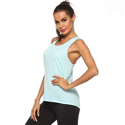 Hat Estilo Europeo y Americano básica de Yoga Deportes Corrientes Color sólido Secado rápido Entrenamiento de la Aptitud Flojo I-Camisa del Chaleco de Ropa de Fitness j0524 (Color : 1, Size : L)