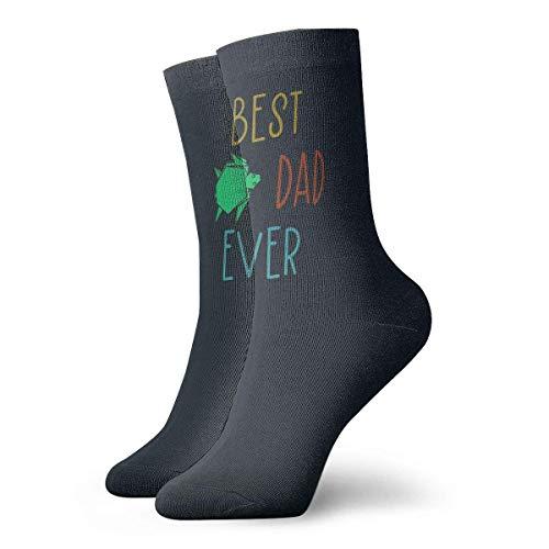 Lsjuee Best Dad Ever Origami Turtle Unisex Crew Moda Novedad Calcetines Calcetines de vestir Calcetines divertidos