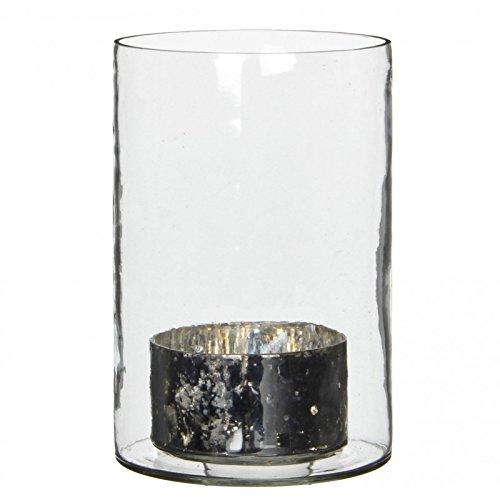 L'Héritier Du Temps Grand Photophore Porte Bougie Globe Vase Transparent Centre de Table en Verre Blanc 12,50x12,50x19cm