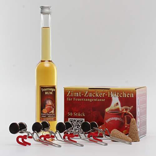Feuerzangen-Set, Feuerzange (4 Stück) mit Rum (100ml) + ZimtZuckerHütchen (50er) - für Feuerzangenbowle