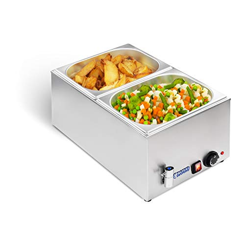 Royal Catering RCBM-1/2-150A-GN Bain Marie Wasserbad Speisenwärmer Buffetwärmer (1200 W, 50–95 °C, Ablasshahn, 2 GN 1/2 Behälter mit Deckel, 56 x 33,5 x 24 cm, Edelstahl)