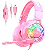 Pink Stereo Gaming Headset with Microphone for PC, Xbox One, Mac, PS4 Headset with LED Lights, Soft Memory Earmuff for Girls, Eposy