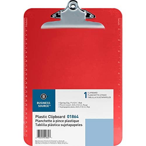 Business Source Transparent Plastic Clipboard, 9 x 12-1/2 Inches, Red (01864)