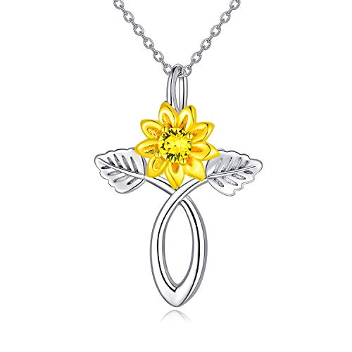 AOBOCO Sunflower Cross Necklace 925 Sterling Silver Celtic Infinity Cross Pendant Necklace with Swarovski Crystal, Religious Christian Pendant Necklace Sunflower Jewelry Gifts for Women
