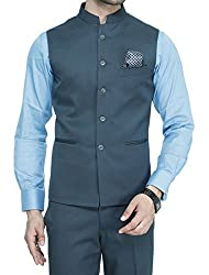ManQ Mens Band Collar Slim Fit Formal/Party Waist Coat