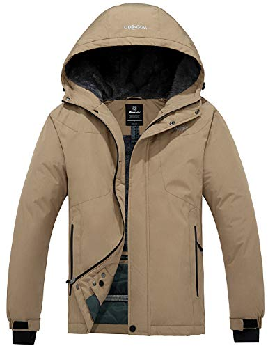Wantdo Men's Hooded Mountain Jacket Windproof Winter Snowboarding Coat Khaki XL