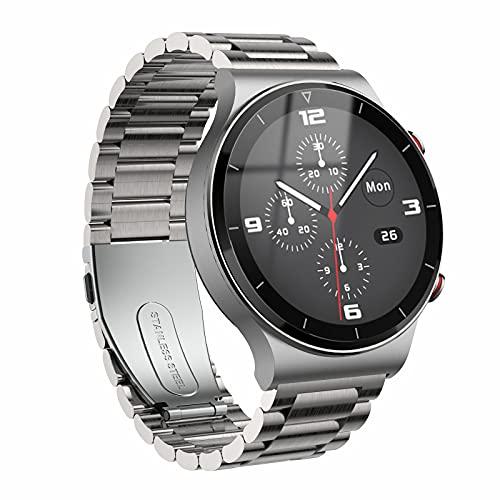 QFSLR Smartwatch,Relojes Inteligentes Hombre,Deporte Reloj con Monitor De Frecuencia Cardíaca Llamada Bluetooth Monitor De Presión Arterial Monitoreo De Oxígeno En Sangre,Plata