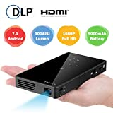 Mini Projector Portable, DLP Pico Projector with Tripod, Support 1080P HD Bluetooth WiFi Auto Keystone Correction HDMI USB TF Card for iPhone/Android/PC/Game (Black)