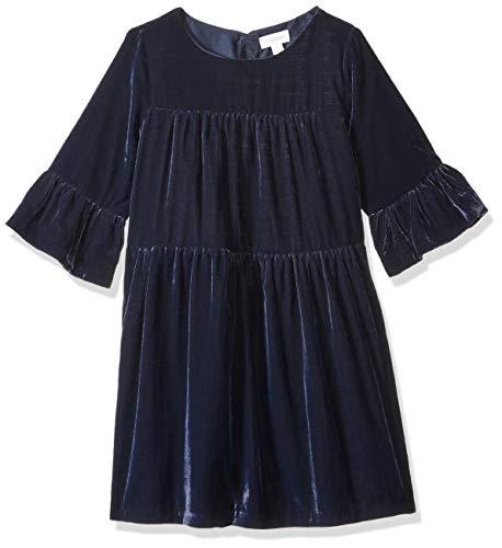 Gymboree Girls' Big Bell Sleeve Dressy Woven Dress, deep sea Blue Velvet, 12