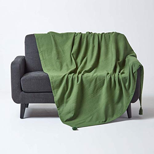 HOMESCAPES - Rajput Ribbed Throw - 100 x 140 Inches - Dark Olive Green - Handmade 100% Cotton - Suitable for most 3 Seater Sofas - Double King bedspreads - Easy care washable at home