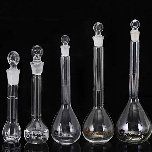 BQSWYD 5-250 ml 5 Piezas Frasco Transparente de Laboratorio Frasco Cónico Vidrio Científico Erlenmeyer Frasco con Tapón Laboratorio de Vidrio Seguro Suministros de investigación Escolar