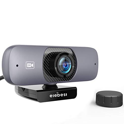 JSJE Cámara Web de 2K HD con micrófono-120 ° de Gran Angular con Cubierta de privacidad H.264 Webcam comprimido de Alta fidelidad para PC Video Conferencia/Llamada/Ju