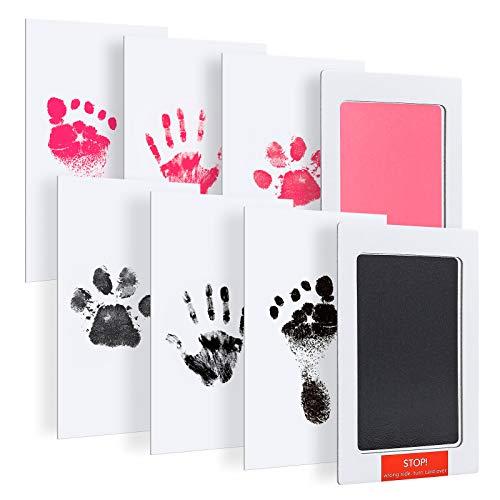 Baby Fussabdruck Set, Gobesty 2 Packs Baby Handabdruck und Fußabdruck, Ungiftig und Sicher Sauber Touch BabyStempelkissen für Neugeborene 0-6 Monate Mädchen und Jungen Katze Hund
