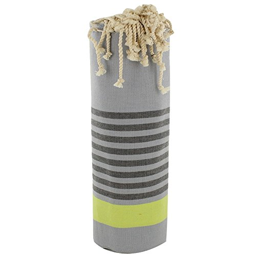 Fouta Badetuch Grau Cotton Schwarz und gelbe Streifen