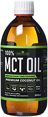 Natures Aid 100 Percent MCT Oil, Premium Coconut Oil, Sustainably Sourced, Add to Coffees or Shakes, Vegan, 500 ml