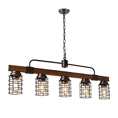 Giluta Industrial Linear Chandelier Rustic Metal Mesh Cage Pendant Lighting Kitchen Dining Room Light Fixture 5 Lights, UL Listed