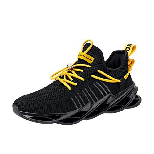 Sneakers Hombre Malla Tejida con Mosca Zapatos De Running Transpirables Casual Zapatos Gimnasio Zapatillas De Deporte Negro 41