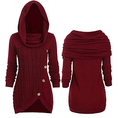 Women's Long Sleeve Gorgeous Hooded Dress, Cable Knit Sweater Dress Sweatshirts, Fashion Casual Irregular Solid Color Hooded Sweater Dress (XL,Red)