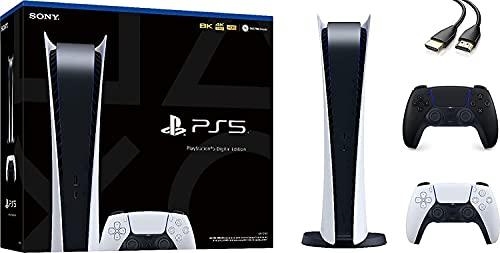 Ps5 playstation 5 digital edition gaming console - 4k-tv gaming, ultra-high speed ssd, 16gb gddr6 ram, 120hz 8k output, 825gb ssd, additional midnight black controller- u deal hdmi