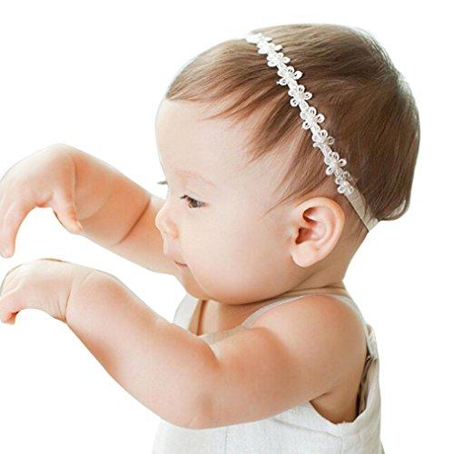 BB smile Banda de pelo,Baby Girls Flores de encaje de princesa Diademas de perlas diamantadas Diademas elásticas (Blanco) (A) (A)