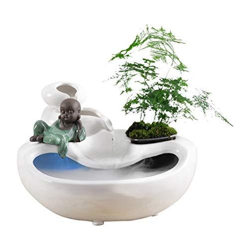 Fengshop Fuente Interior Fuente de la decoración Interior de la Fuente de cerámica Zen Fountain 9.1'Regalo de decoración Fuente de Escritorio (Color : White)