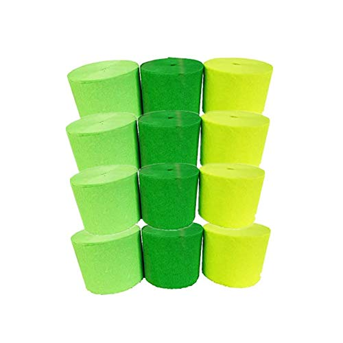 Fonder Mols 12 Rolls Crepe Paper Streamers, Mixed Green, for Tropical Rain Forest Theme Baby Shower Kids Birthday Bridal Shower Decorations, Jungle Safari Theme Party Supplies