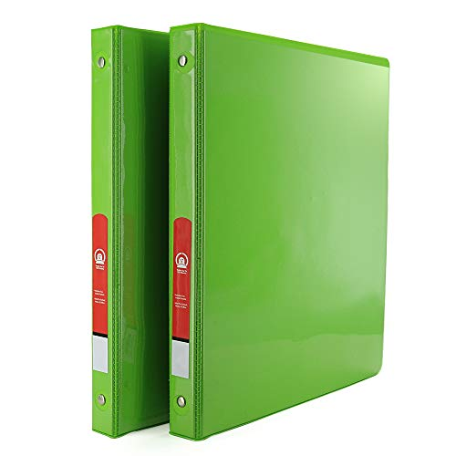 """1/2"""" 3-Ring View Binder with 2-Pockets - Available in Lime Green - Great for School, Home, & Office (2-Pack) - by Emraw"""