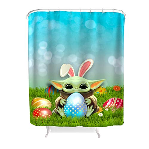 YxueSond polyester stof Easter Baby yoda Eggs douchegordijn waterdicht stof anti-schimmel badkuipgordijn