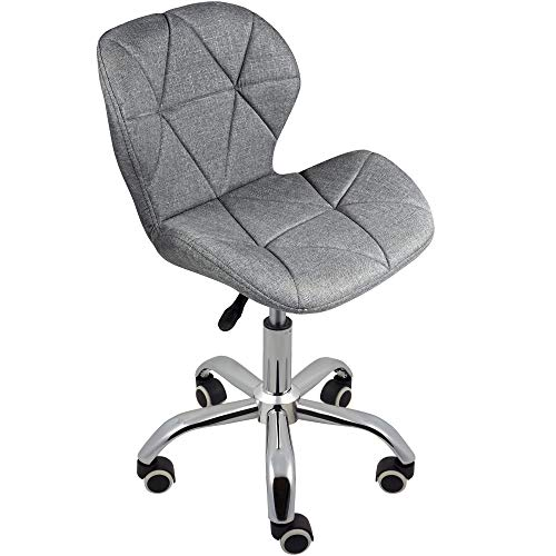 Charles Jacobs Dining/Office Swivel Chair with Chrome Legs with Wheels and Lift - Grey Fabric